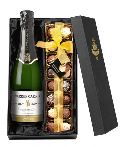 Personalised Cava and Chocolates